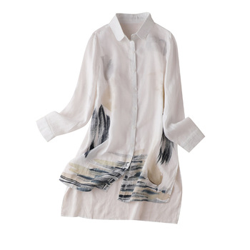 Womens Extended Shirt Women Linen Patchwork Organza Turn-down Collar  Chinese Style Print Summer and Blouse