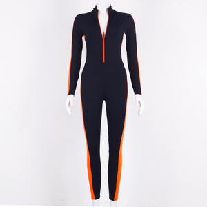Image 5 - Hugcitar long sleeve striped patchwork zippers jumpsuit 2019 autumn winter stretchy streetwear outfits body