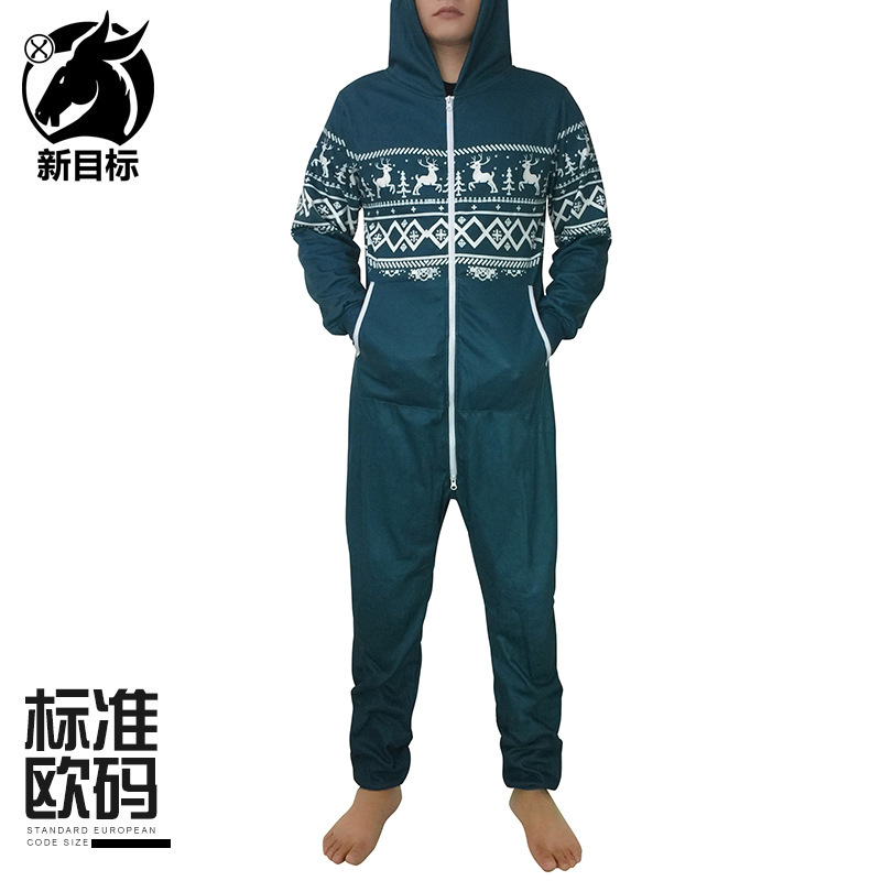 Green Long-sleeved Home Pajamas Creative Reindeer Printing Plus Velvet Onesie Couples Thick Christmas Costume 2019 Winter