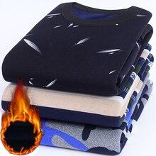 Niautumn outono inverno novos blusas de malha casual masculino mais veludo camisola flanela novos pullovers elastano o pescoço roupas de marca masculina
