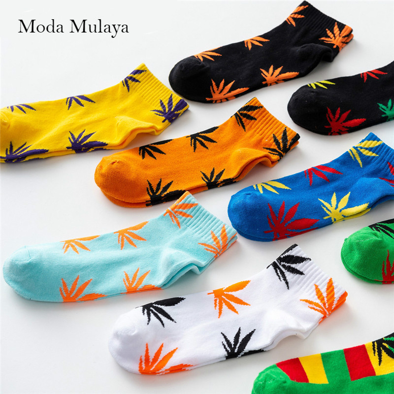 Moda Mulaya Summer Women Men's Funny Ankle Socks Hemp Meias Long Happy Maple Leaf Sokken Cotton Weed Grass White Black Socken