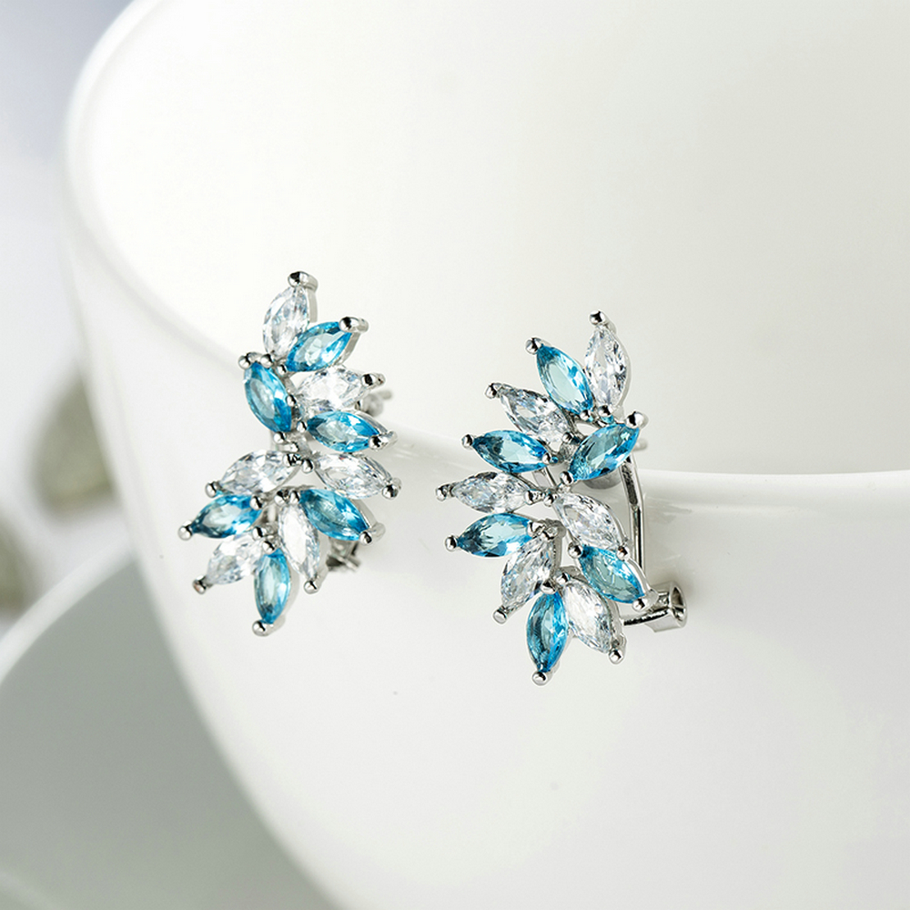 bohemian Style jewelry leaf Shape Clip on Earrings colorful cubic zircon earrings Party Cute Lovely Ear Clip ear ring image