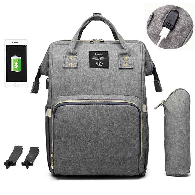 Large Capacity Diaper Bag Backpack Waterproof Maternity Bag Baby Diaper Bags With USB Interface Mummy Travel Bag For StrollerDiaper Bags   -