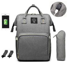 กระเป๋าผ้าอ้อมขนาดใหญ่กระเป๋าเป้สะพายหลังกันน้ำ Maternity กระเป๋าผ้าอ้อมเด็กที่มีอินเตอร์เฟซ USB Mummy กระเป๋าเดินทางสำหรับรถเข็นเด็ก