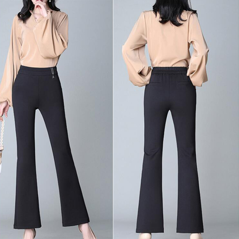 Women's Pants Autumn Winter Casual High Waist Trousers Flare Pants Solid Color Slim Fit Elastic Casual Ladies Pants 5
