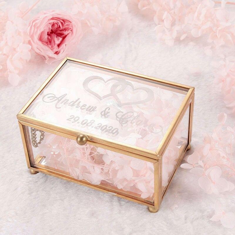 Personalized Geometrical Clear Glass Jewelry Box Ring Bearer Jewelry Box Storage Box Jewelry Organizer Holder Wedding Decoration