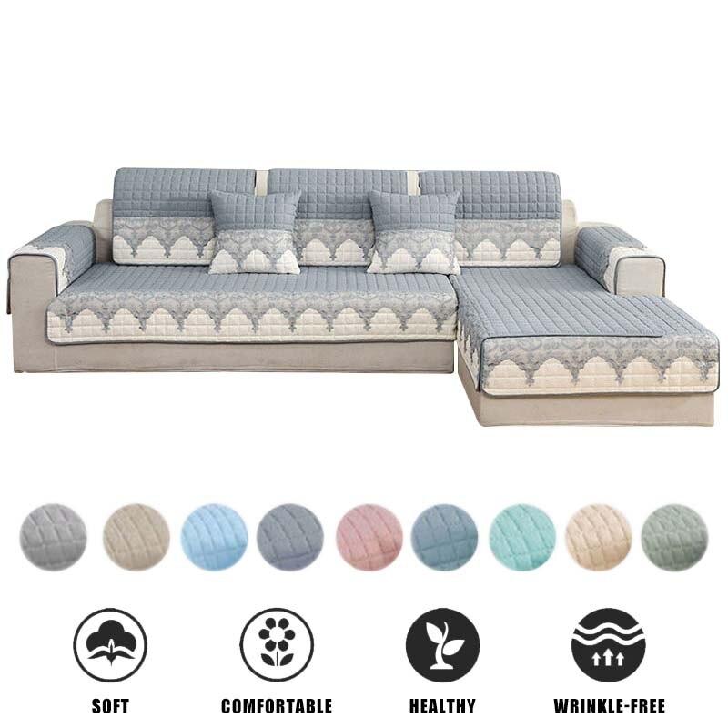 Cubierta de sofá por secciones, cubierta de sofá extraíble antideslizante para sala de estar, colchoneta para perro, funda de sofá de encaje a cuadros, funda de sofá en forma de L