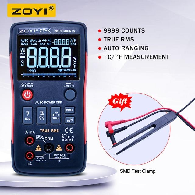 ZOYI ZT X דיגיטלי מודד; True RMS אוטומטי טווח AC DC וולט אמפר אוהם meter; קבלים תדר דיודה NCV בדיקה + LCD תאורה אחורית