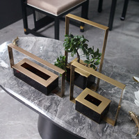 Golde Metal Rectangular Acrylic Vase Decor Home Hotel Clubhouse Simulation Banyan Plant Potted Soft Decor Art Crafts Flower Pots