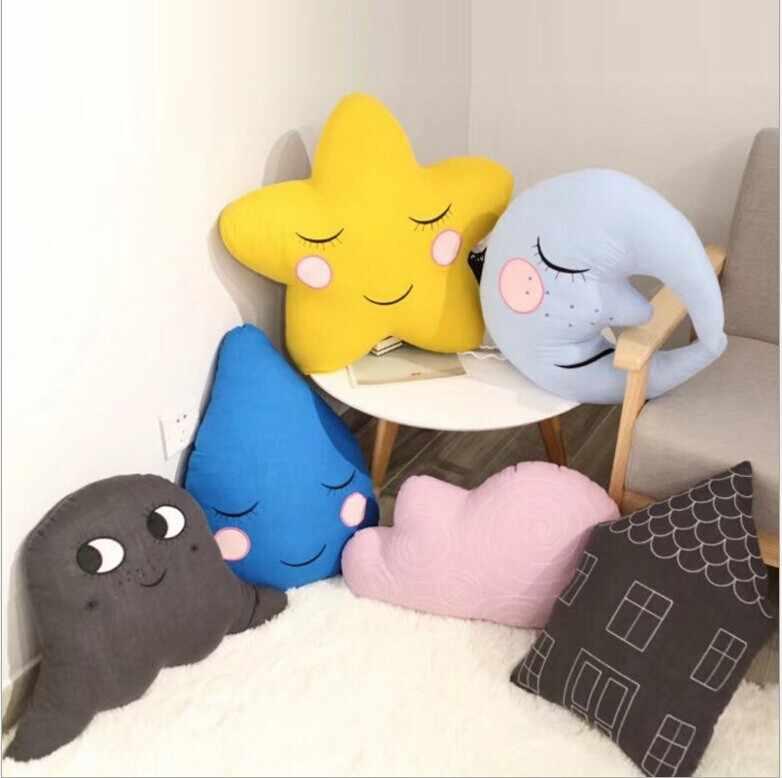Bébé chambre dessin animé oreiller coton ciel oreillers nuage étoile elfe goutte d'eau lune dos coussin enfants chambre lit décor Nature oreiller