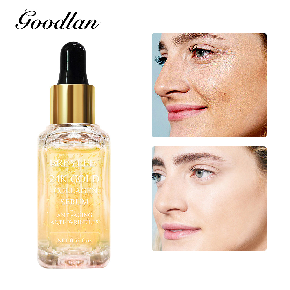 BREYLEE Skin Care Serum 24K Gold Facial Essence Anti Aging Wrinkle Removal Face Liquid Collagen Whitening Lifting Ageless 15ml