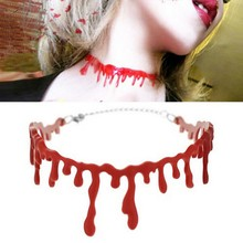 New Halloween Necklace Red Blood Drip Necklace Horror Simulation Blood Choker For Halloween Party(China)