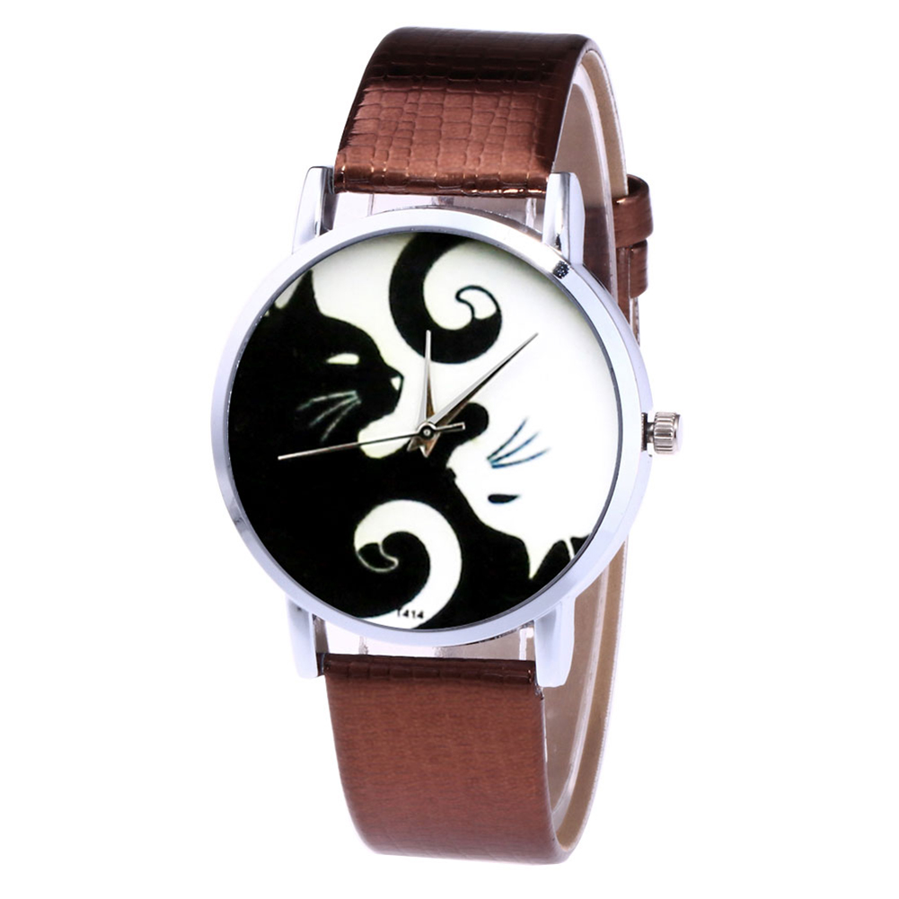 Cute White And Black Cats Couple Watches With PU Leather Strap And Round Dial LXH