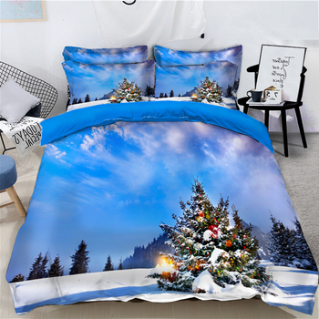 Christmas Eve Snow Print Bedding Duvet Cover set Christmas Tree Pattern Quilt Cover 3pcs Pillowcase set Double Bedding set