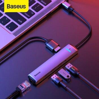 Baseus USB HUB 3.0 USB C HUB for MacBook Air USB Type C HUB RJ45 HDMI Card Reader Adapter HUB USB Splitter Computer Accessories