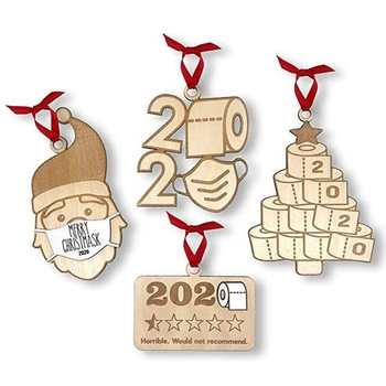 2020 New 4pcs/set Quarantine with Masks Toilet Paper Pendant Wood Personalized Ornaments image