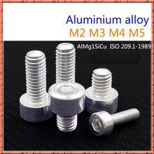 50 unids/lote M2/M3/M4/M5 tornillo de aleación de aluminio din912 tornillos de cabeza cilíndrica tornillos de cabeza de enchufe