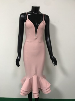 Hot Bodycon Bandage Dress 2020 Sexy V Neck Backless Ball Gown Pink Women Summer Dress Fashion Evening Party Dress Vestido 3
