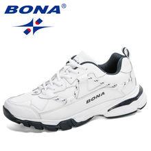 Bona 2020 Новые дизайнерские кожаные беговые кроссовки для мужчин