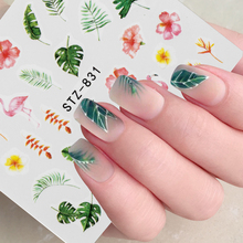 1Pcs Water Nail Decal and Sticker Flower Leaf Tree Green Simple Summer DIY Slider for Manicure Nail Art Watermark Manicure Decor cheap yanqueens CN(Origin) 6 3x5 4cm SF178-SF187 Plastic Paper Water Transfer Decals