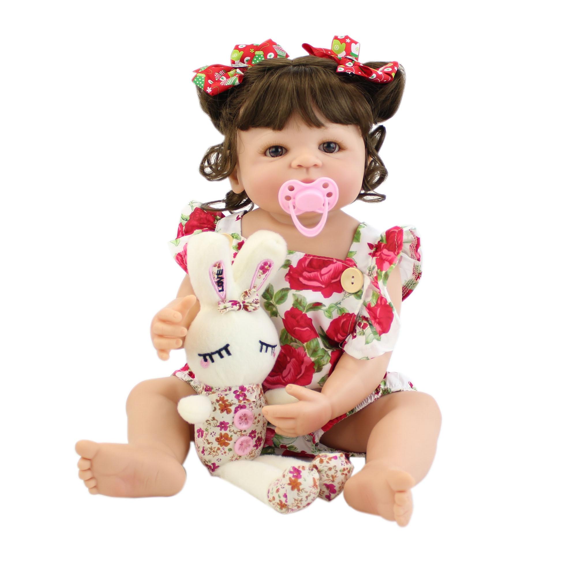 55cm Full Silicone Body Reborn Baby Doll Toy For Girl Vinyl Newborn Princess Babies Bebe Bathe