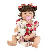 55cm 전체 실리콘 바디 Reborn 아기 인형 장난감 소녀 비닐 신생아 공주 아기 Bebe Bathe 동반 장난감 생일 선물