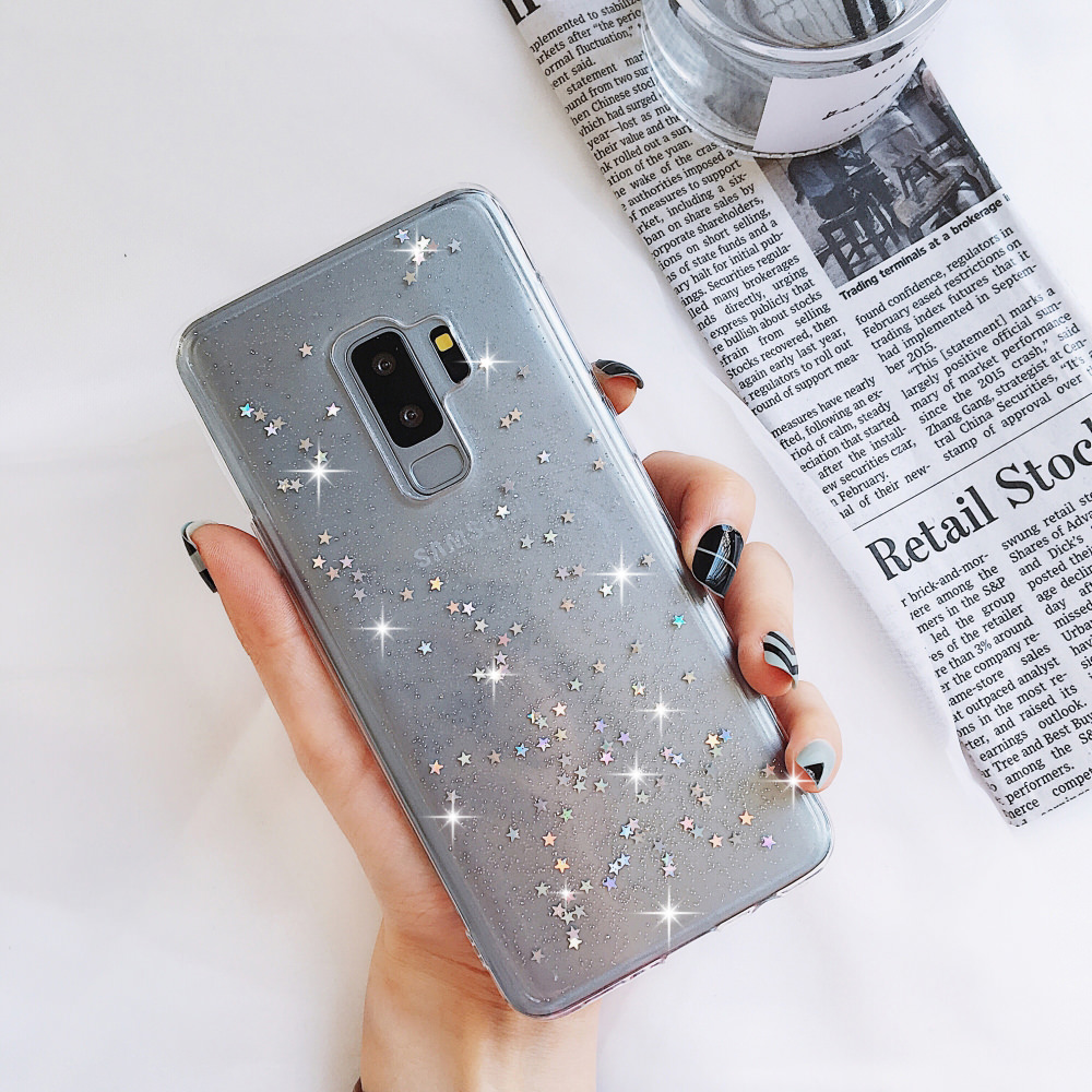Women Glitter Soft Case for <font><b>Samsung</b></font> Galaxy A71 A51 <font><b>J6</b></font> J5 J4 <font><b>Plus</b></font> J3 A8 A7 A6 Bling <font><b>Silicone</b></font> Transparent Clear Phone Cover <font><b>Coque</b></font> image
