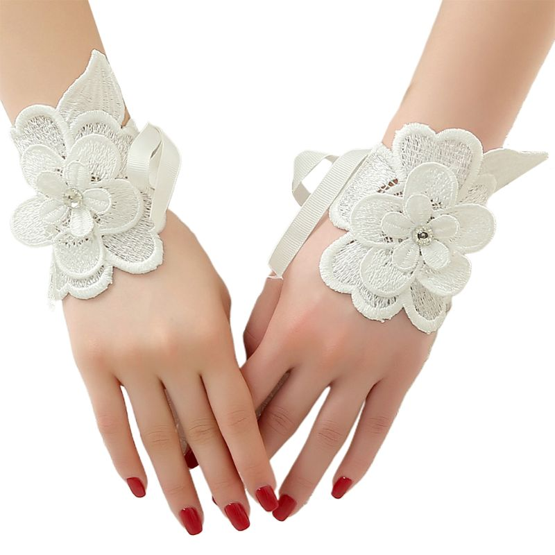 Womens Layered Embroidery Peony Flower Applique Gloves Rhinestone Jewelry Fingerless Mittens Adjustable Ribbon Wristband