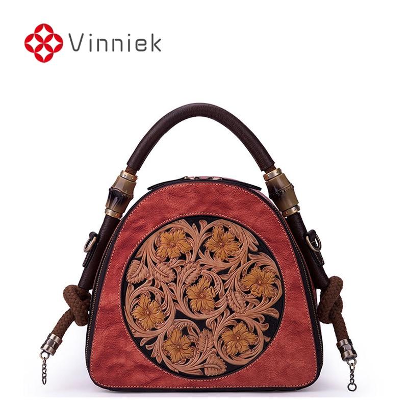 Genuine Leather Women's Bag Vintage Floral Female's Handbags Embossed Shoulder Round Cross Body Bag for Ladies