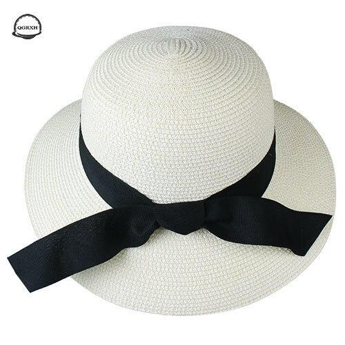 Summer Hat Women Bow Beach Style Bucket Hat Panama Style Sunscreen Women Sun Cap Temperament Casual Straw Cap  Chapeau Feminino