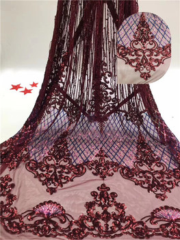 5yards New Arrival High Quality African Organza Lace Fabric 2019 Nigerian French Sequins Lace Fabric For Dress      DPJUL311