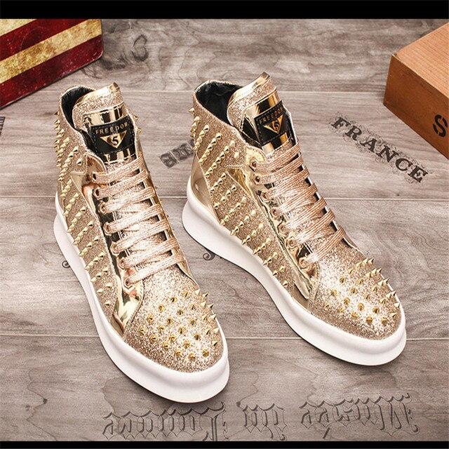Zapatillas de deporte de lujo para Hombre, zapatos informales con remaches de estilo Punk, Hip Hop, color dorado y rojo, suela gruesa 4