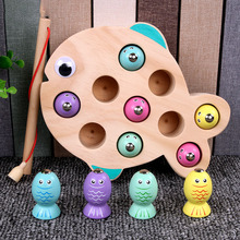 цена на Fishing Toys Girls Children Game Wooden Magnetic Fishing Game Early Learning Educational Toys For Kids Birthday Gift