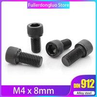 m4*8 100Pcs Metric Thread DIN912 Black Grade 12.9 Alloy Steel Hex Socket Head Cap Bolt ( screws m4x8mm screw m4x8 )