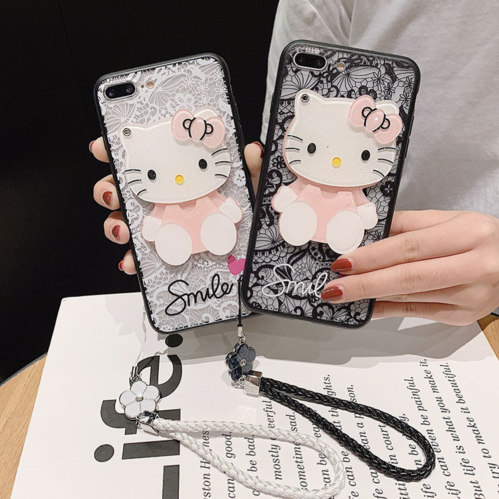 Image 2 - For Huawei Y9 2019 Case Y9Prime 2019 Y7 2019 Cover Y6Pro 2019 Y7Pro 2019 Funda Y5 2019 3D Kitty Lace Mirror Case KONSMART-in Fitted Cases from Cellphones & Telecommunications