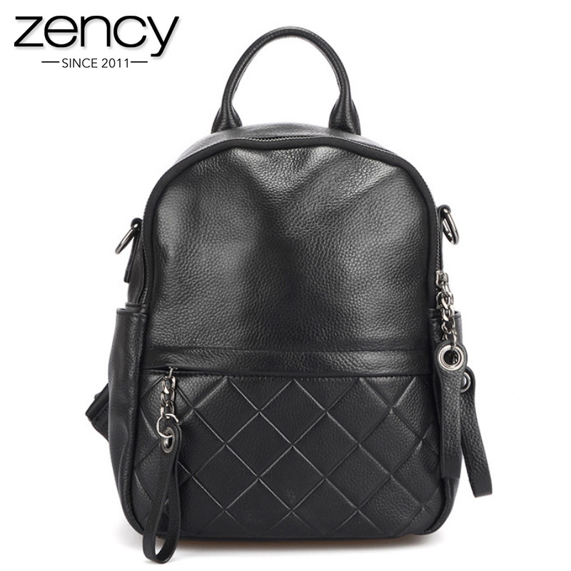 Zency 100% Genuine Leather Vintage Women Backpack Elegant Black Daily Holiday Knapsack Casual Travel Bags Girl's Schoolbag