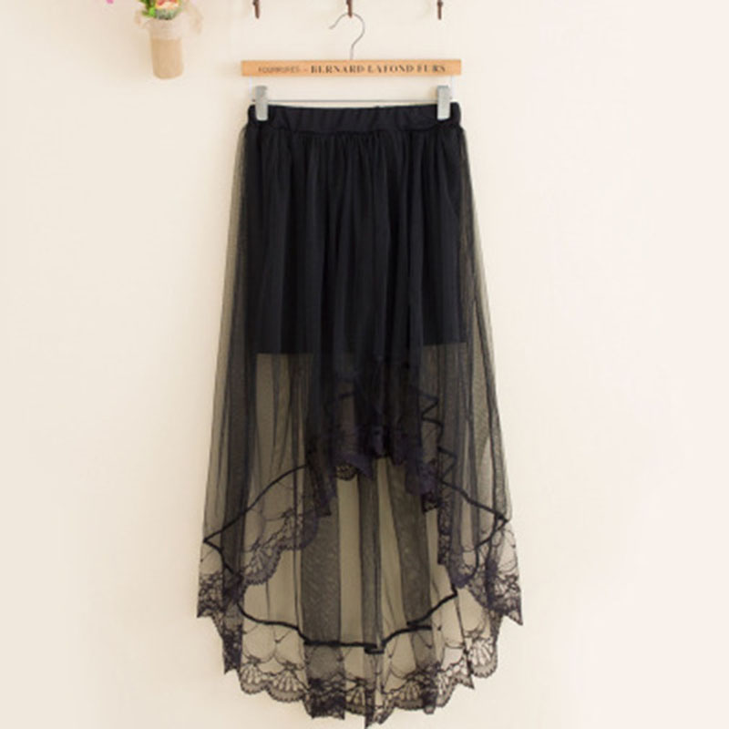 Lace Girl Summer Long Lace Skirt Women Black White Mesh Voile Casual Skirts High Waist Bohemian Sexy Transparent Maxi Skirt