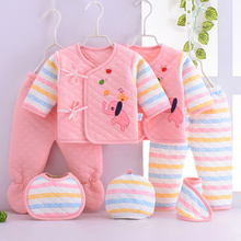 7 Piece Winter Newborn Baby Clothing Set Long Sleeve Baby Girls Boys Clothes Cotton Cartoon Underwear Infant Baby Clothes 0-3M zofz newborn baby clothing cotton baby girls short sleeve set three piece princess dress set with bow hair band and underpants