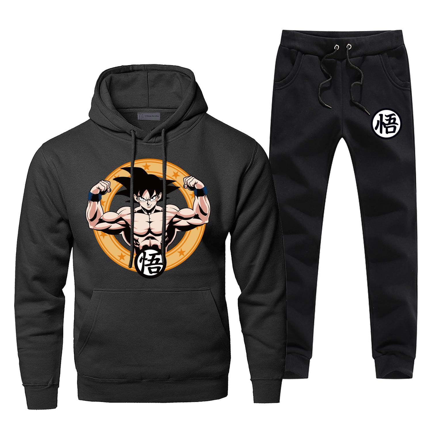 Japan Anime Dragon Ball Z Print Complete Man Tracksuit Harajuku Fashion Sportsman Wear Casual 2 Piece Set Gym Suit Streetwear