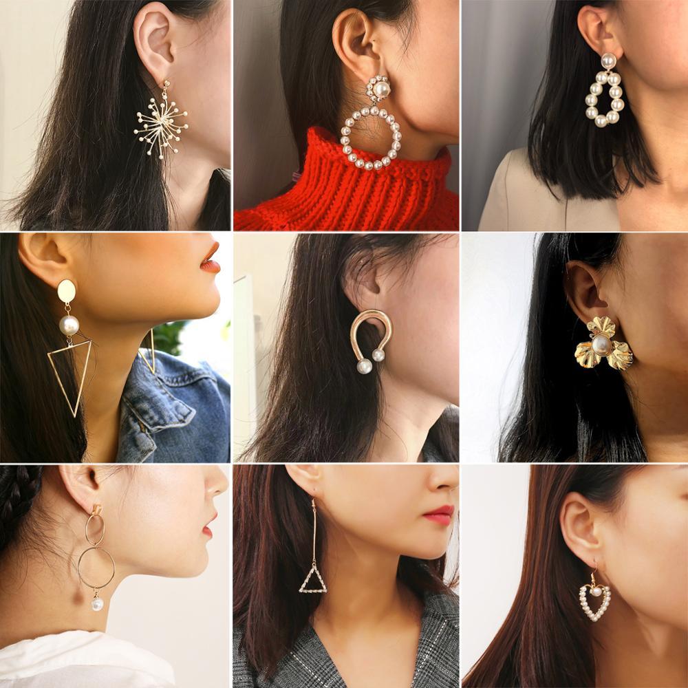 Fashion Jewelry Personality Simple Creative Korean Earrings Multi-element Pearl Geometry Wild Hoop Earrings Female