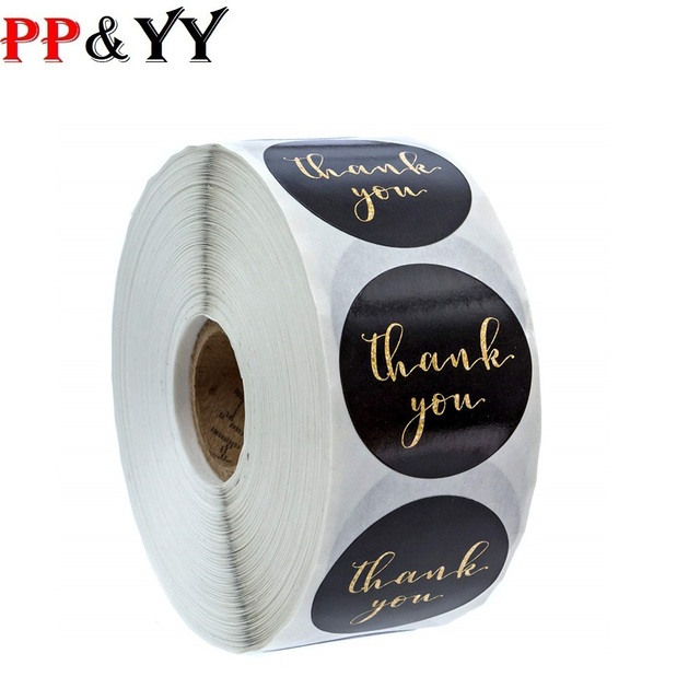500pcs/roll Gold Foil Thank You Stickers for seal labels 1 inch gift Packaging Stickers Birthday Party offer stationery sticker 1