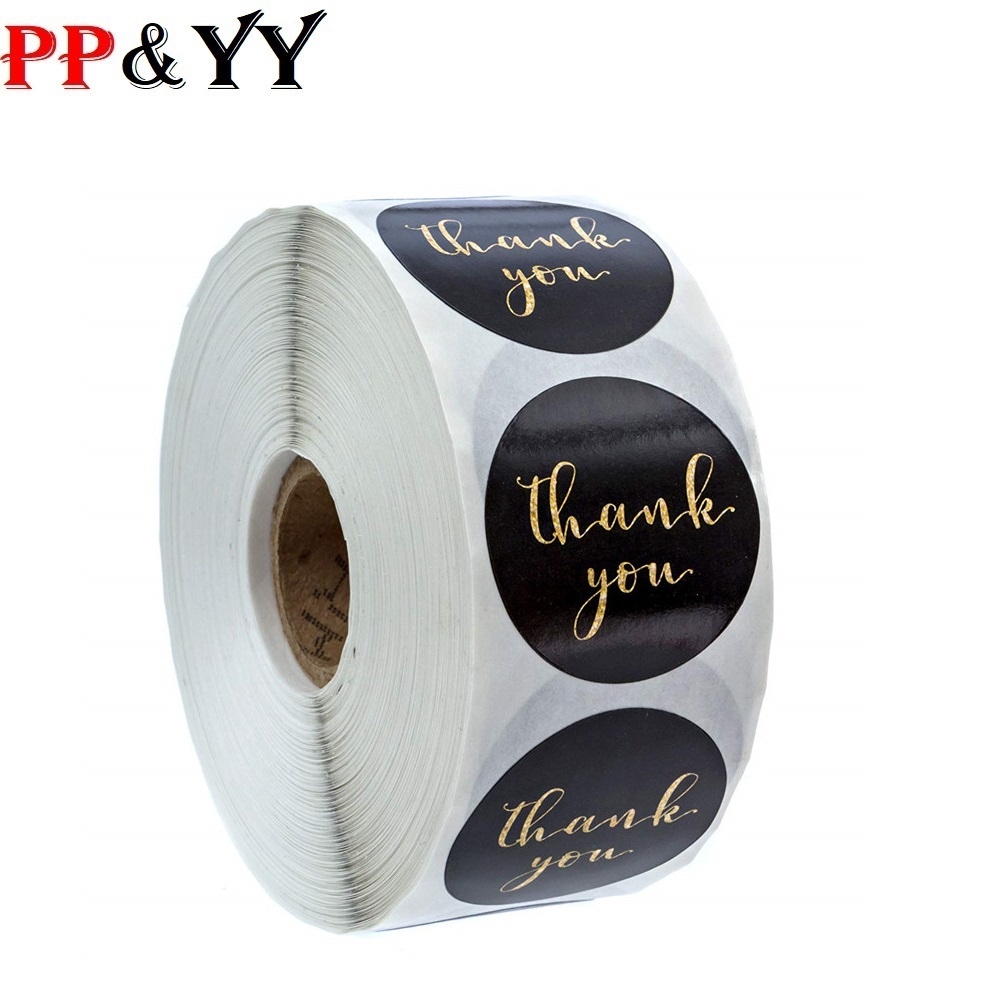 500pcs/roll Gold Foil Thank You Stickers For Seal Labels 1 Inch Gift Packaging Stickers Birthday Party Offer Stationery Sticker