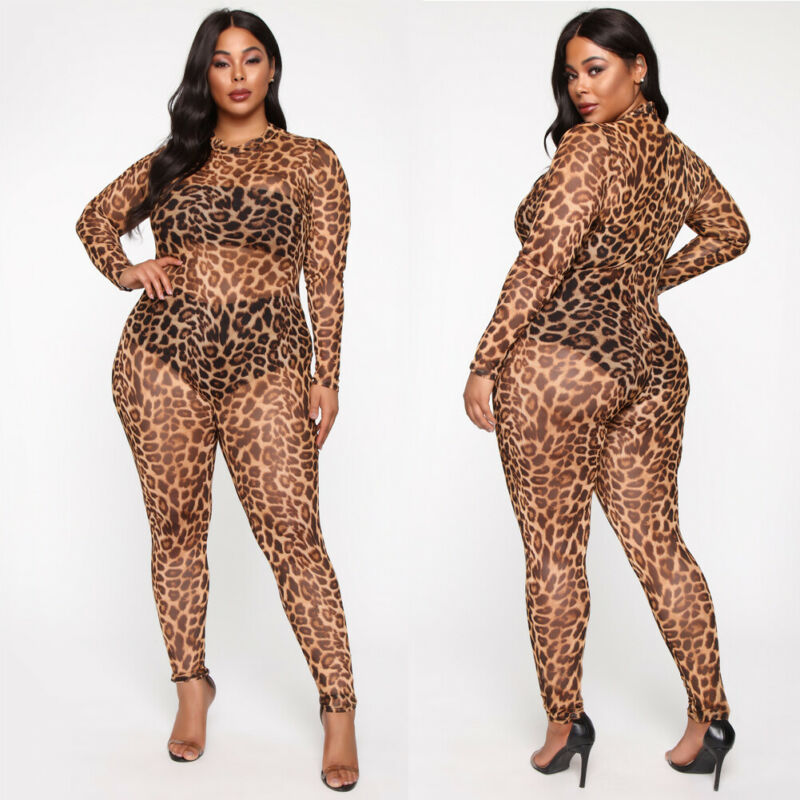 Women Ladies Sexy Casual Long Sleeve Mesh Sheer Transparent Clubwear Bodycon Leopard Party Jumpsuit Trousers Clubwear