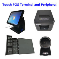 POS System Terminal 15 Touch Panel Cash Register & Cash Drawer & 80mm Thermal Receipt Printer Auto Cutter & Barcode Scanner