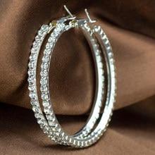 Populaire Oorbel Met Strass 20 Mm-90 Mm Crystal Circle Oorringen Eenvoudige Grote Cirkel Verzilverd Oorringen voor Vrouwen