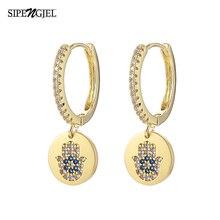 New Fashion Cubic Zircon Hand Drop Earrings Green Eye round small hoop Earrings For Women Luxury Design Wedding Jewelry 2020
