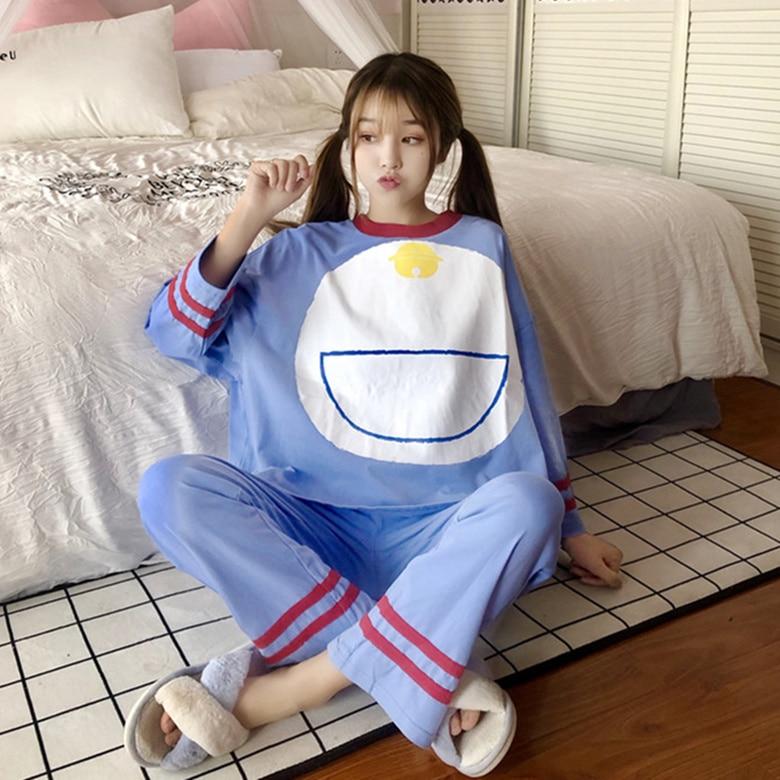 Loose Pajama Sets For Women 2020 Spring Summer Fashion Pyjamas Long Sleeve 2 Pcs Casual Comfort Sleepwear Female Pijama