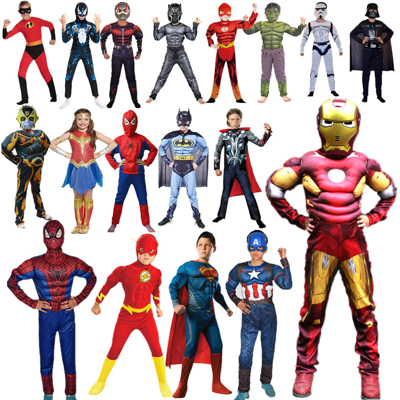 Boy & Girl Super Hero Cosplay Costume For Boys Carnival Halloween  For Kids Party Costume Child Shield And Glove Accessories