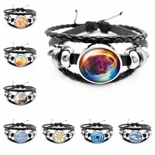 2019 Best Selling The Latest Corrugated Kaleidoscope Series Glass Cabochon Fashion Leather Mens Bracelet Jewelry Gift