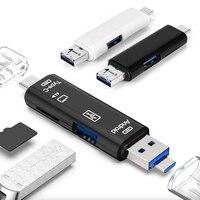 Tipo C y MicroUSB y USB 3 en 1 lector de tarjetas OTG de alta velocidad Universal OTG TF/USB para ordenador Android encabezados de extensión Dropshipping. Exclusivo.